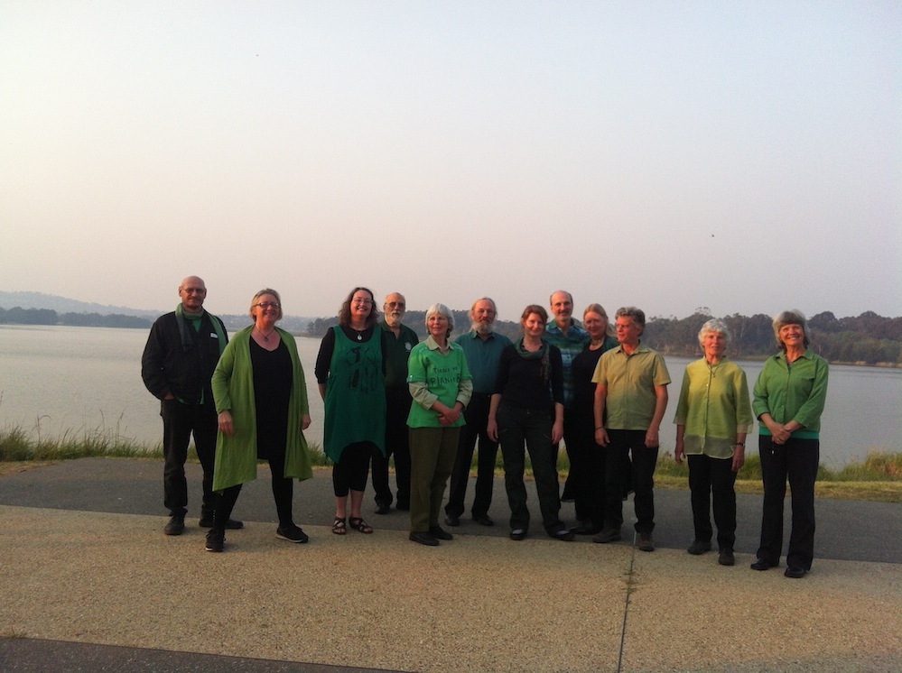 Ecopella environment choir before gig in Canberra 2013